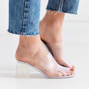 Jeffrey Campbell clear acrylic plastic jelly slide